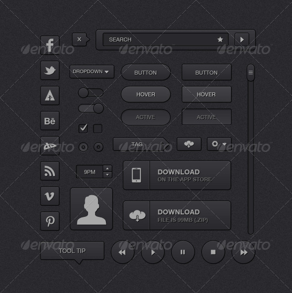 GraphicRiver Simple Dark UI Kit 5156059