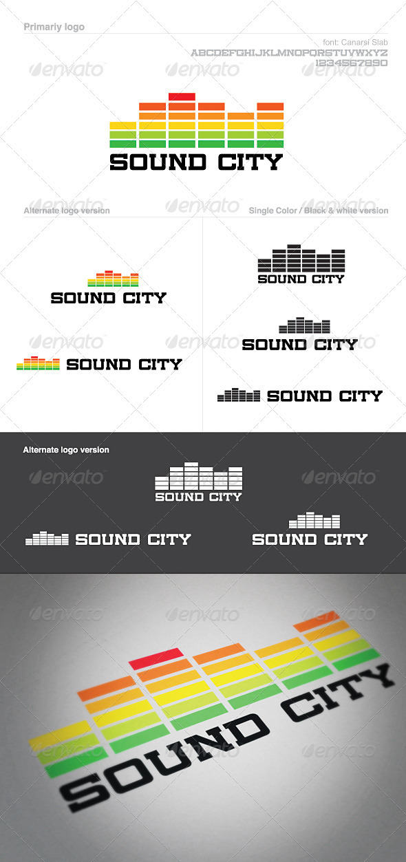 Sound City Logo Template: Graphic Equalizer Volume - Vector Abstract