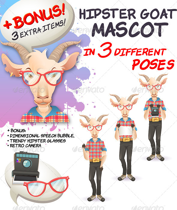GraphicRiver Hipster Goat Mascot in 3 Different Poses 5130877