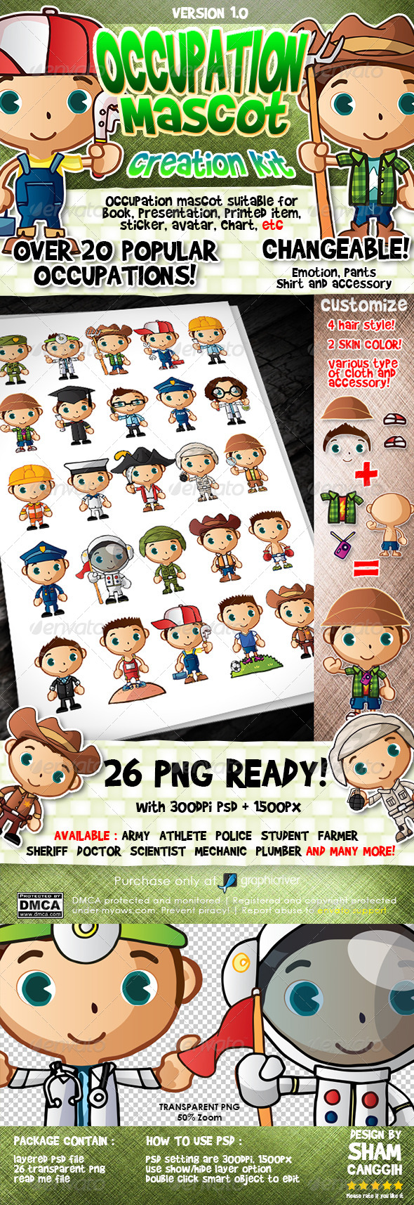 Popular Occupation Mascot Creation Kit - Characters Illustrations