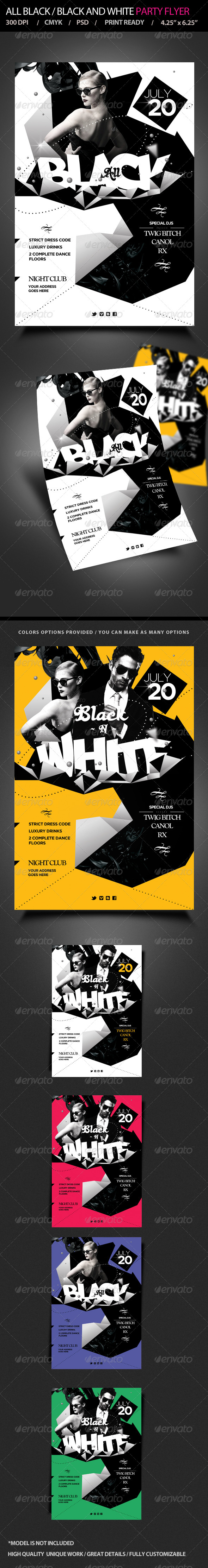 GraphicRiver All Black Black and White Party Flyer 5157776