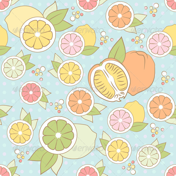 Vector Seamless Pattern with Citrus - Patterns Decorative