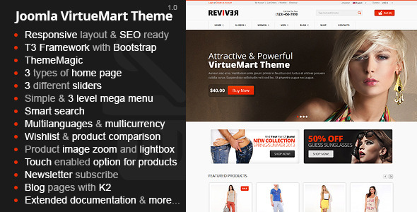 ThemeForest Reviver Responsive Multipurpose VirtueMart Theme 5157820