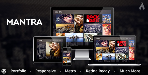 Mantra - Portfolio Metro WordPress Theme - Fullscreen, Portfolio Unlimited Color Elements, 30+ Shortcodes, iPhone, iPad, Portfolio and Slider Custom Post Types, AJAX Contact Form, Video Documentation, Sidebar Generator, Responsive, Video, Image, Metro