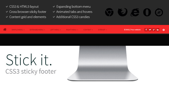 CodeCanyon Stick it HTML5 & CSS3 Sticky Footer 5158569