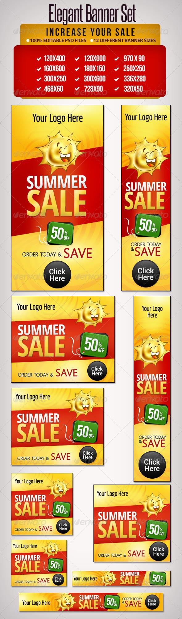 GraphicRiver Summer Banner Set All Standard banner sizes 5133816