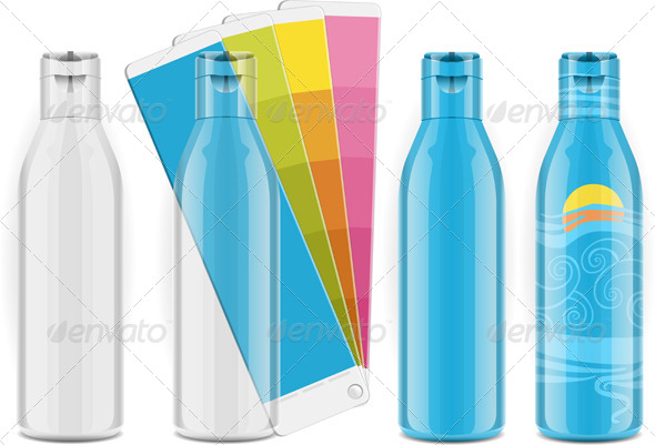 GraphicRiver Four Plastic Bottles with Color Palette and Labels 5160993