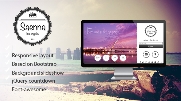 Saenna - Responsive Coming Soon Template