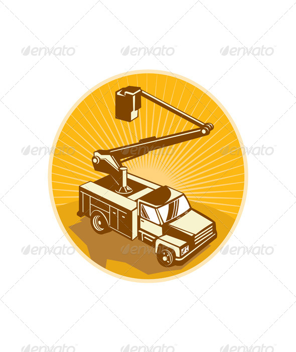 GraphicRiver Cherry Picker Bucket Truck Access Equipment Retro 5161282
