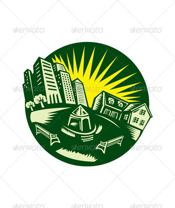 GraphicRiver Urban Building Park House Woodcut 5161304