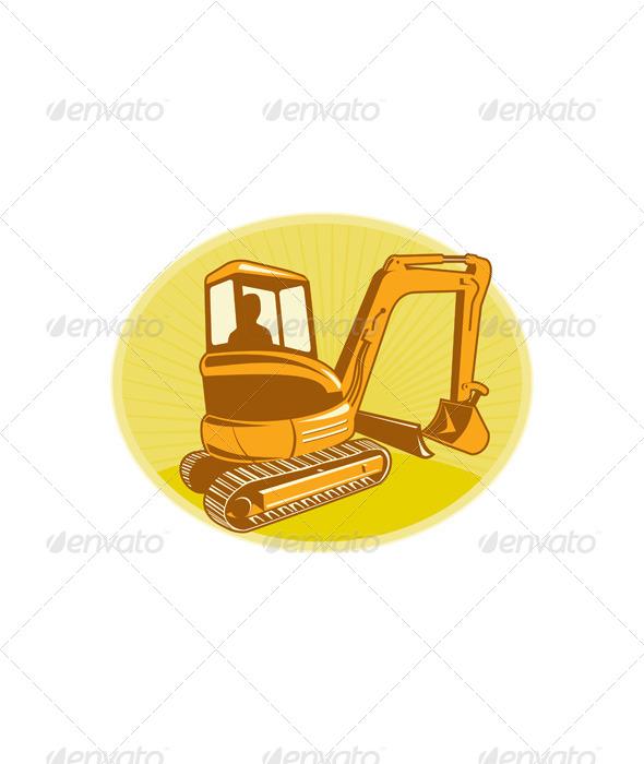 GraphicRiver Mechanical Digger Excavator Retro 5161395