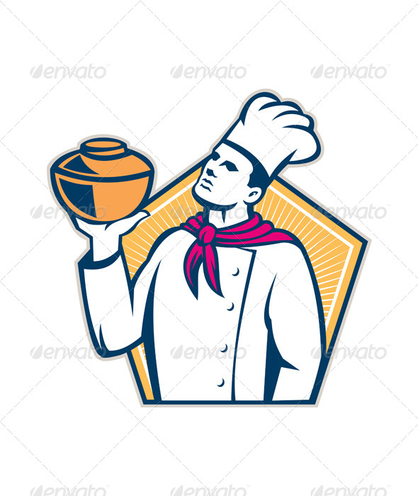 Chef Cook Holding Pot Retro