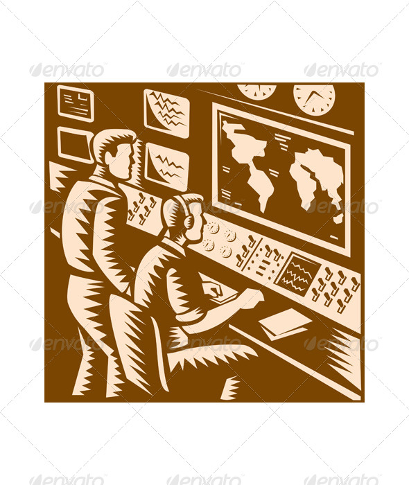 GraphicRiver Control Room Command Center Headquarter Woodcut 5161528