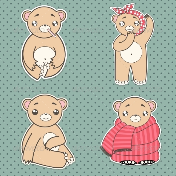 GraphicRiver Set Sick Bear 5161564