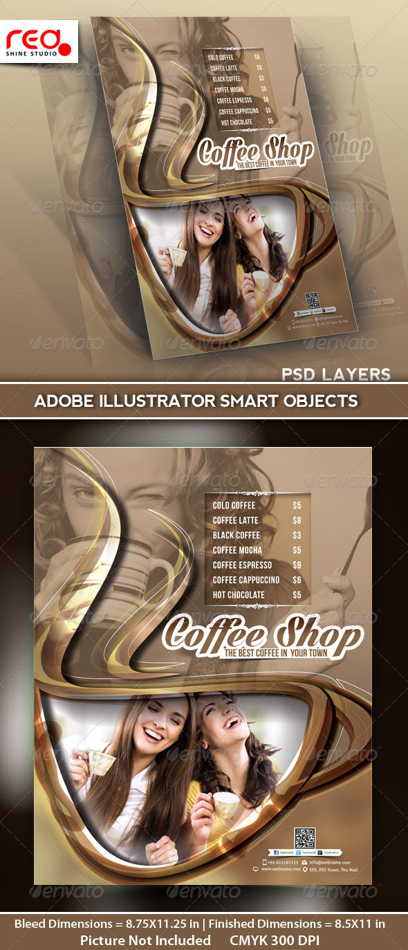 GraphicRiver Coffee Shop Menu Flyer Template 5161759