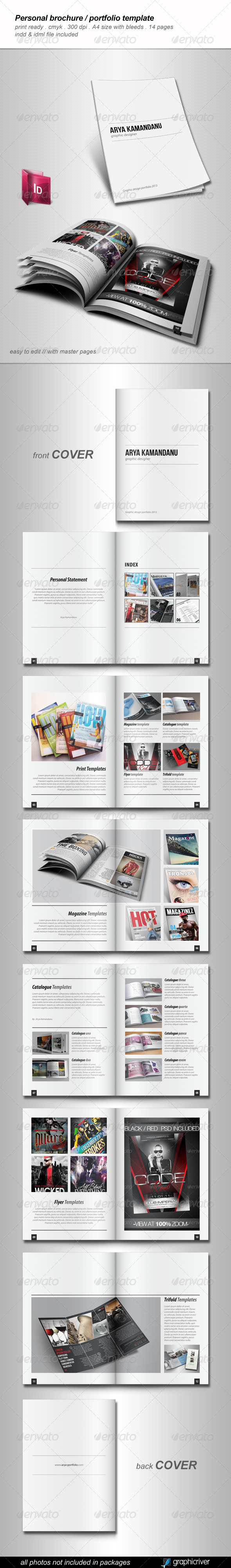 personal brochure templates - indesign a3 portfolio template