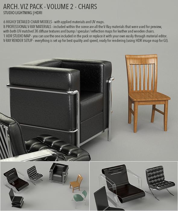 3DOcean Arch Viz Pack Volume 2 Chairs 5162013