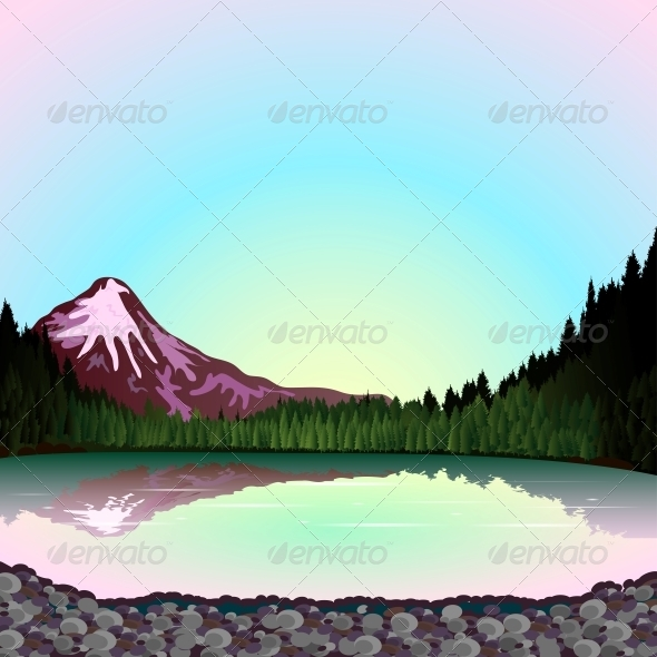GraphicRiver Pink Mountain at Sunset 5162273