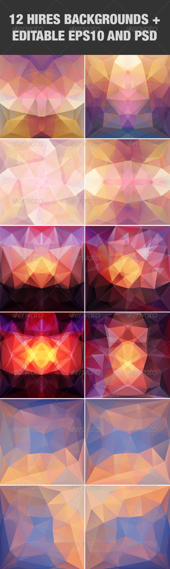 GraphicRiver Violet Abstract Triangular Backgrounds Set 5138845