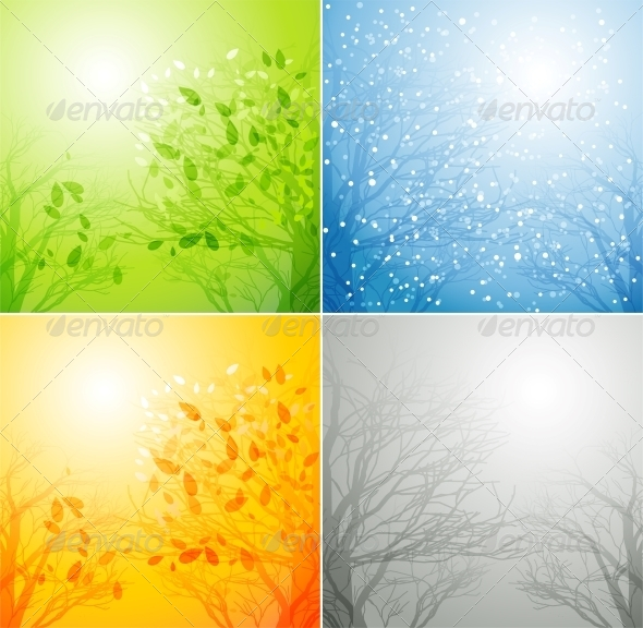 GraphicRiver Tree in Four Different Seasons 5162714