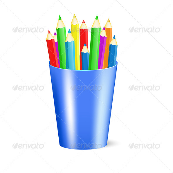 GraphicRiver Several Color Pencils in a Cup 5163239