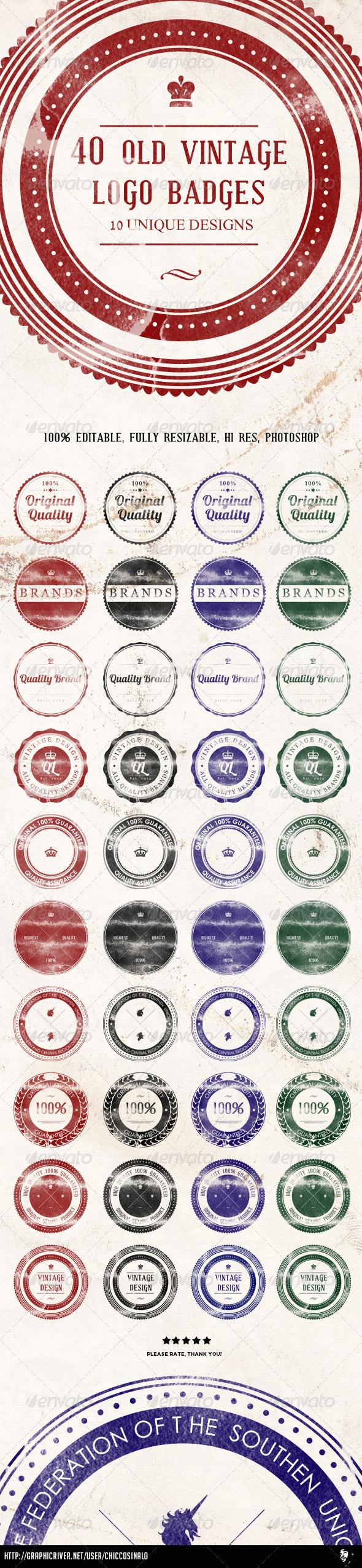 GraphicRiver 40 Old Vintage Logo Badges 5163252