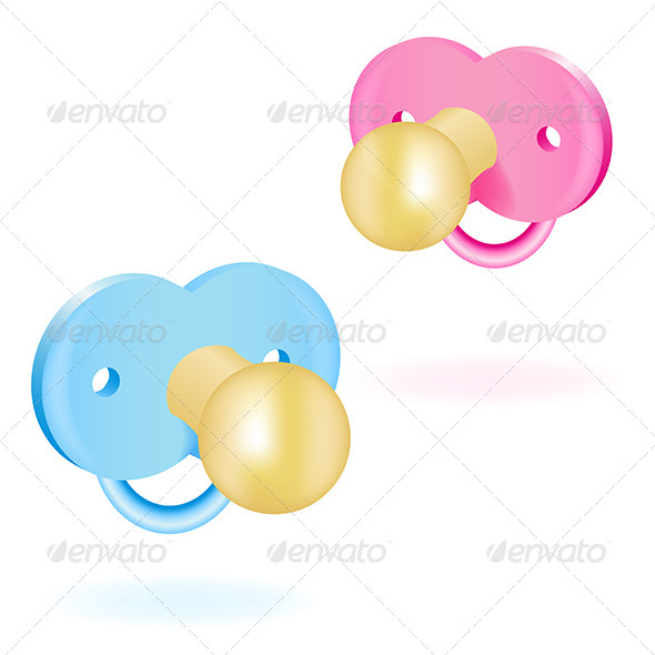 GraphicRiver Two Baby Pacifiers Pink and Blue 5163397