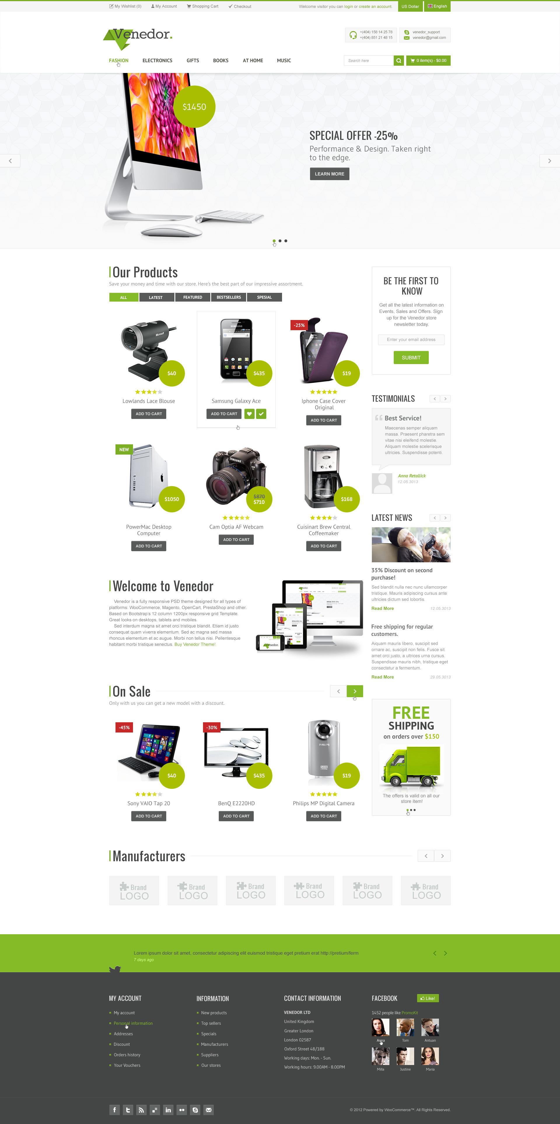 Venedor - Bootstrap Responsive eCommerce PSD