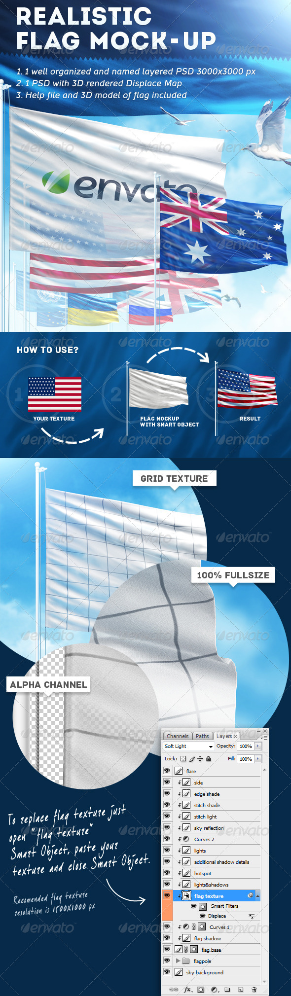 GraphicRiver Realistic Flag Mock-Up 5141310