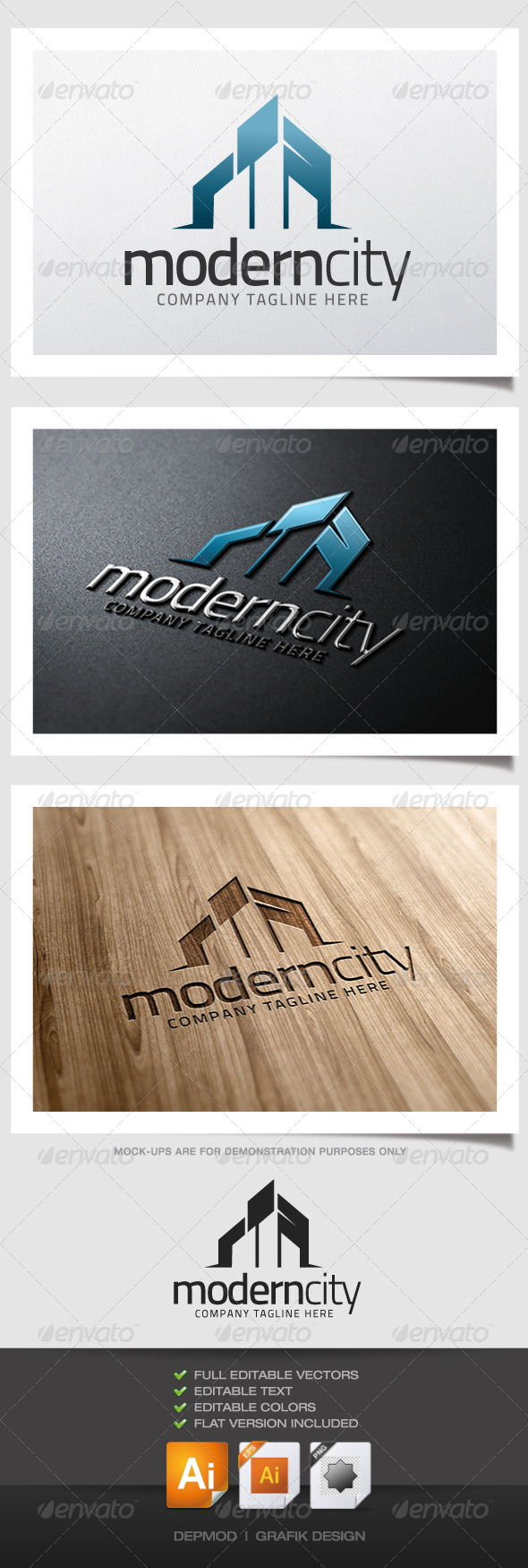 Modern City Logo - Buildings Logo Templates