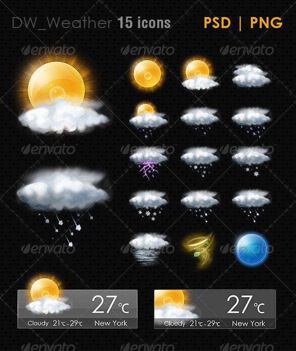 GraphicRiver 15 Realistic Weather ICON 5163745