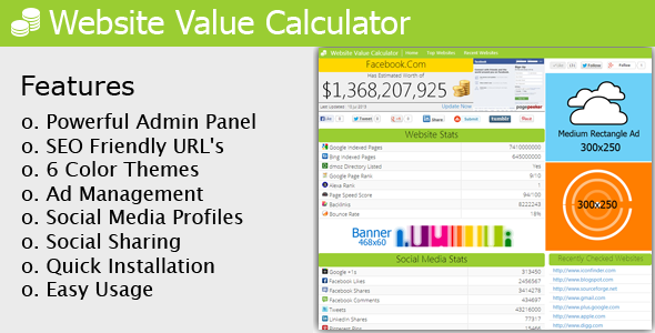 Website Value Calculator - WorldWideScripts.net Item for Sale