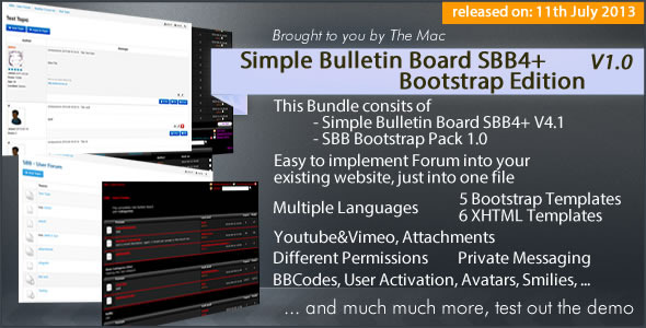 CodeCanyon Simple Bulletin Board SBB4& Bootstrap Edition 5163821
