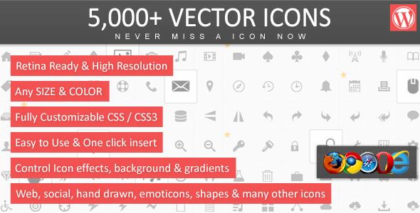 CodeCanyon 5 000& Vector Icons WordPress 5157123