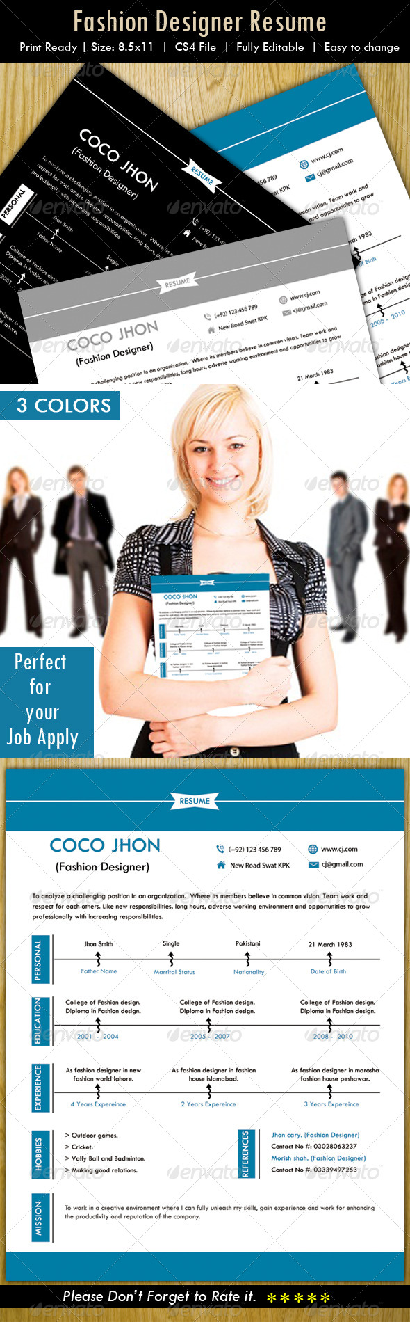 GraphicRiver Resume Fashion Designer 5092252