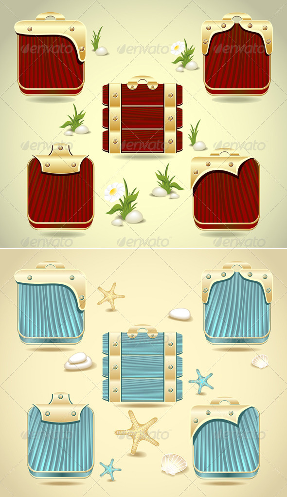 GraphicRiver Set Buttons or Frames Form Wood and Gold Decoration 5164672