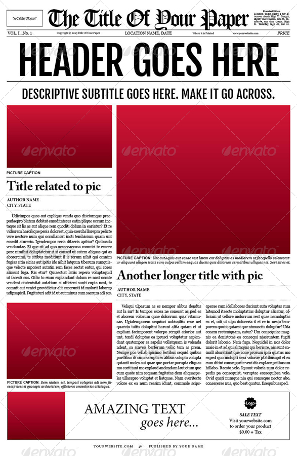 old style newspaper template by tedfull graphicriver. Black Bedroom Furniture Sets. Home Design Ideas