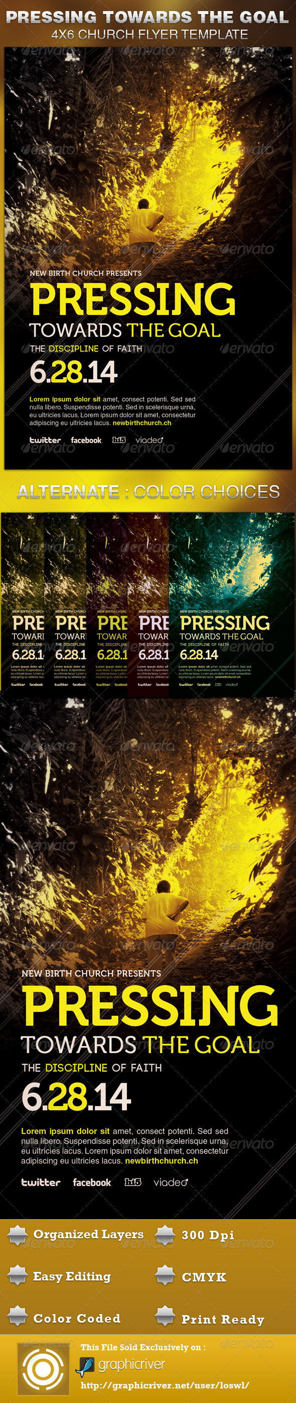 GraphicRiver Pressing Towards the Goal Church Flyer Template 5093359