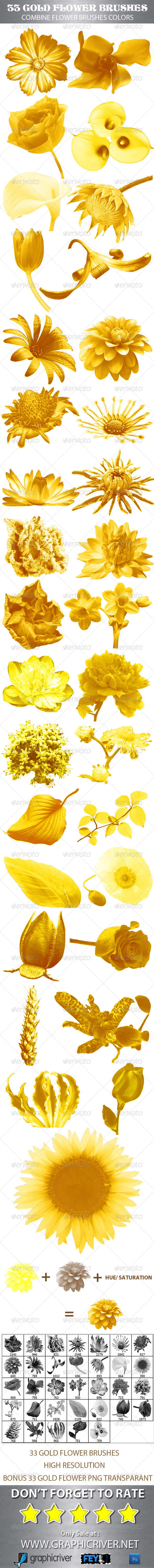 GraphicRiver 33 Gold Flower Brushes 5165602