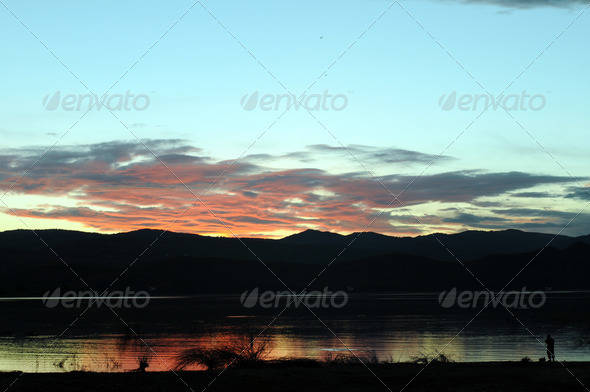 Lake Sunset Fisher - Stock Photo - Images
