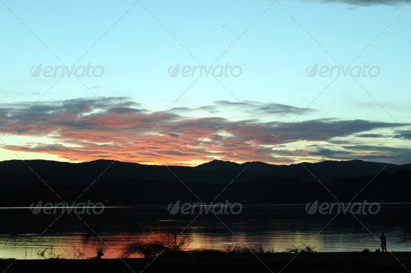Lake Sunset Fisher - Stock Photo - Images