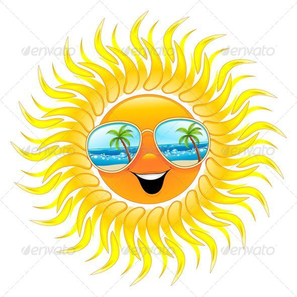 Summer Sun Cartoon with Sunglasses - Seasons Nature