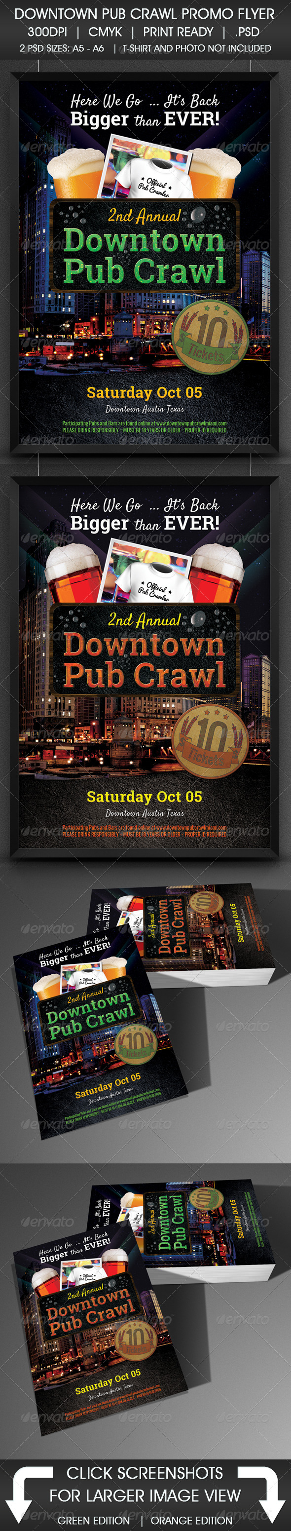 Downtown Pub Crawl Promo Flyer - Events Flyers