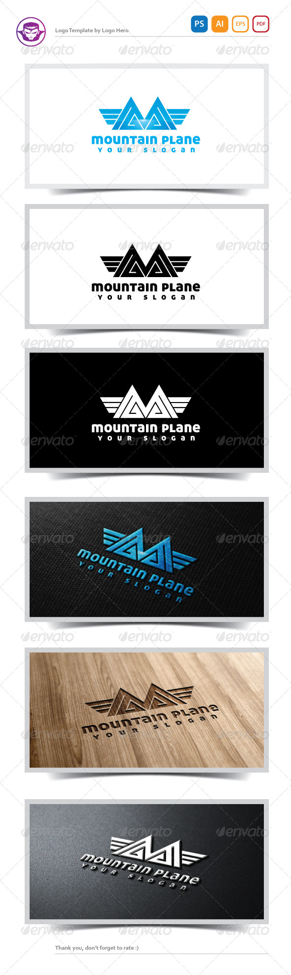 Mountain Plane Logo Template