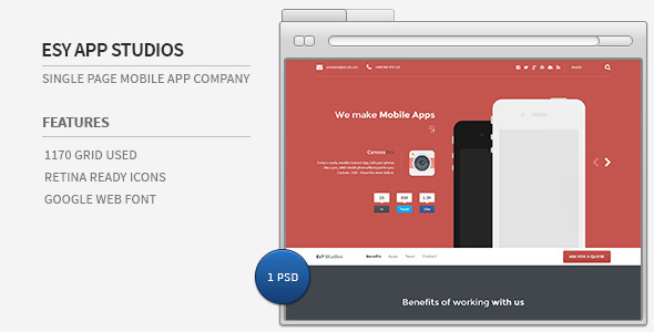 Single page Mobile app company portfolio website. Features 1170 Grid system Used Fully Customizable layerd PSD files Font Awesome Icons used Google Web Font Use