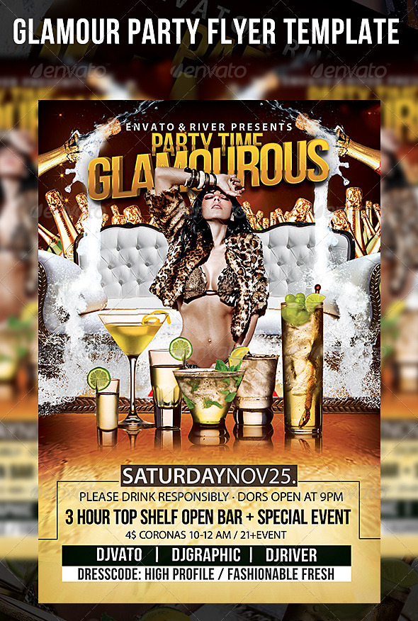Glamour Party Flyer Template - Events Flyers
