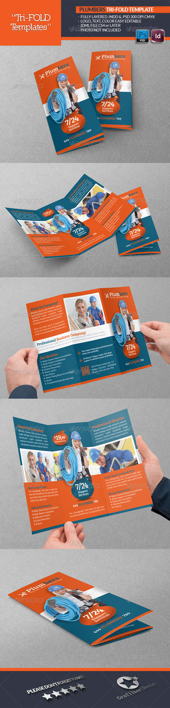 GraphicRiver Plumbers Tri-Fold Template 5167291