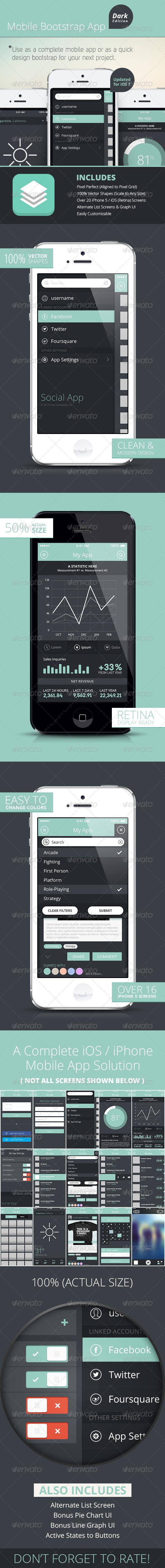 GraphicRiver Bootstrap Mobile Phone UI iPhone iOS App Dark 5167300