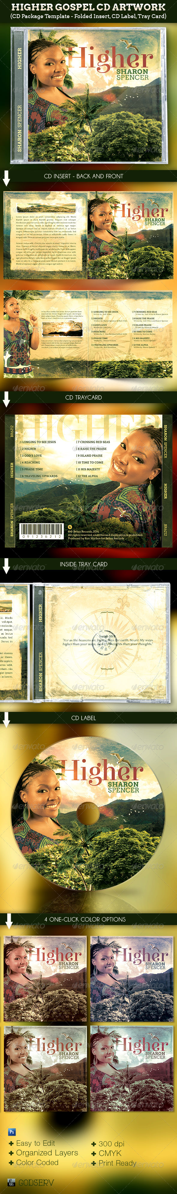 Higher Gospel CD Artwork Template - CD & DVD artwork Print Templates