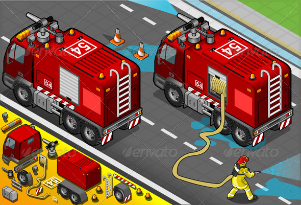 Isometric Firefighter Tank Truck in Rear View
